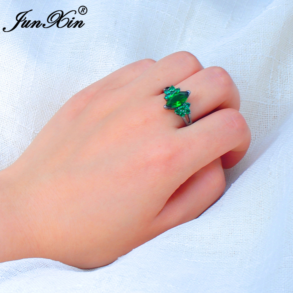 JUNXIN Male Female Green Ring Crystal Fashion Jewelry Vintage ...