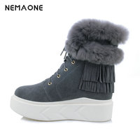NEMAONE Top Fashion 2018 Women S Natural Fox Fur Snow Boots 100 Cow Leather Winter Boots