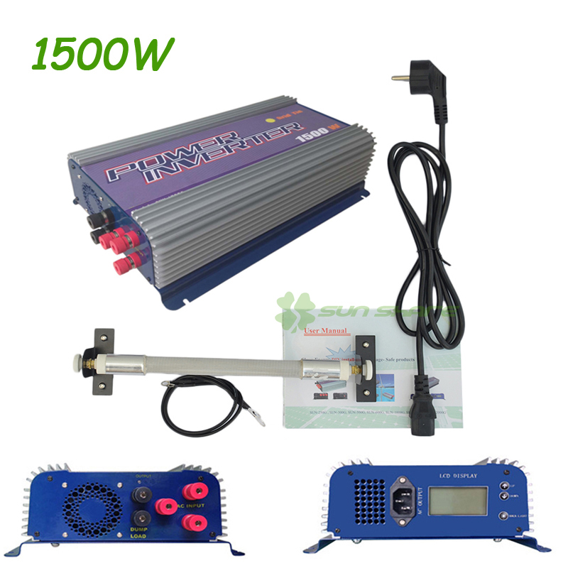 1.5KW 1500W Grid Tie Inverter with Dump Load for 3 Phase AC Wind Turbine Grid Tie Inverter 45-90V Input LCD MPPT Pure Sine Wave solar power on grid tie mini 300w inverter with mppt funciton dc 10 8 30v input to ac output no extra shipping fee