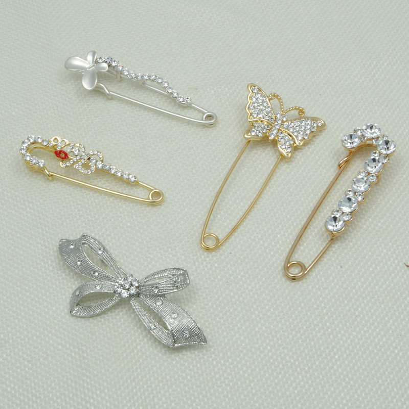 WXJCAN 5 รูปแบบ Hijab Pins ความปลอดภัย Pin เข็มกลัดผู้หญิงรูปผีเสื้อ bowknot Lip rhinestone เครื่องประดับแฟชั่น