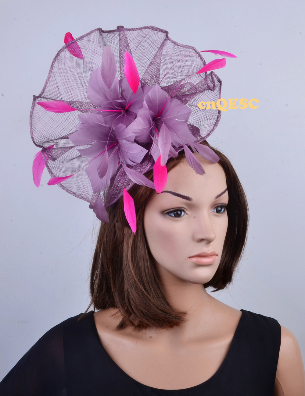 96cfb70d34b4a NEW Wholesale Unique design.purple pink Large feather fascinator sinamay  fascinator formal hat kentucky derby hat wedding hat.