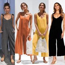 ZOGAA Комбинезоны женские модные однотонные с открытой спиной комбинезон без рукавов с v-образным вырезом Комбинезоны повседневные широкие брюки с открытыми плечами