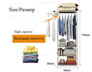 Image 4 - Assembly Standing Clothes Rack Simple Shelf Living Coat Rack Popular Bedroom Storage Coat Hanger Furniture