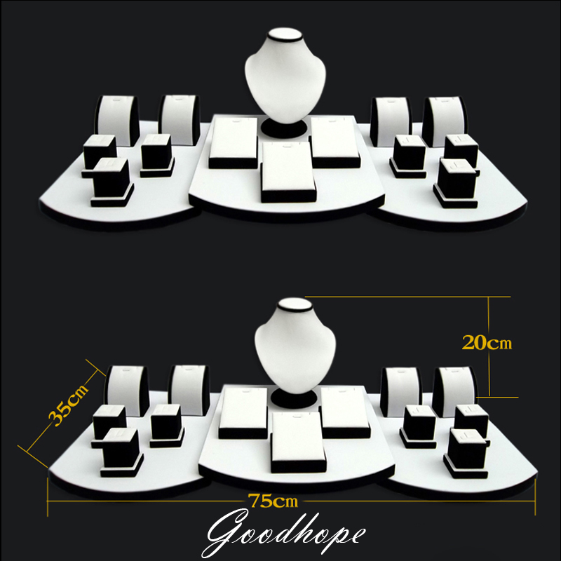 17Pcs Set White Faux Leatherette Necklace Earring Pendant Chain Jewelry Display Stand Holder Bust Form Window