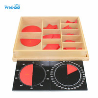 Montessori Math teaching aids kindergarten children wooden toys Cut Out Labeled Fraction Circles 1 10