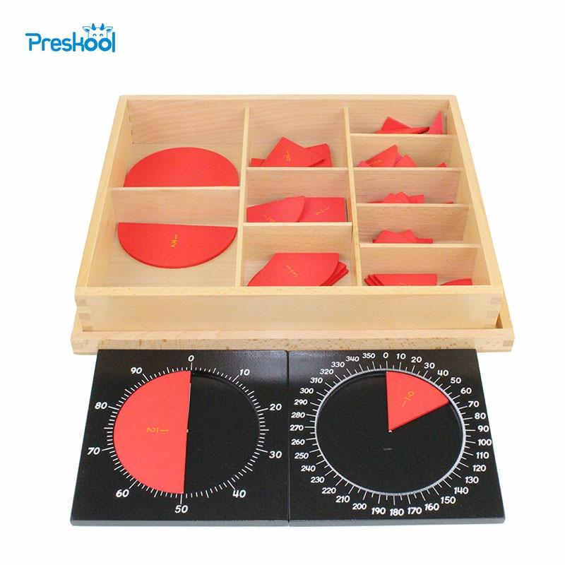 Montessori mathématiques aides pédagogiques maternelle enfants jouets en bois découpés étiquetés cercles de Fraction 1-10