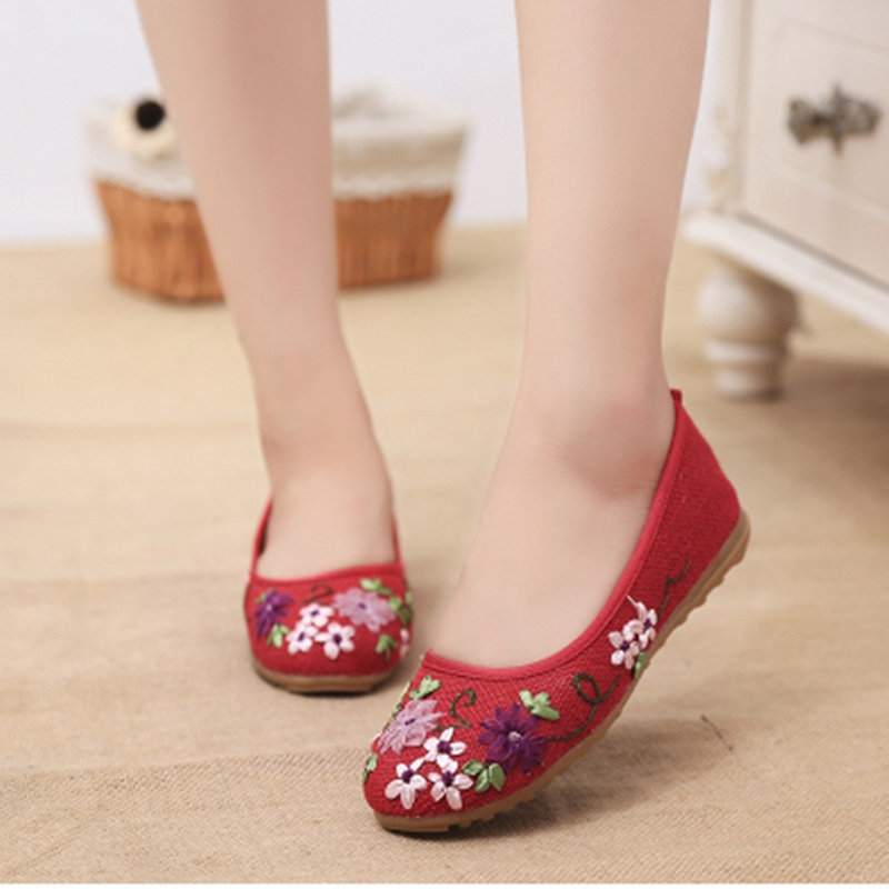 Female Old Bei jing Cotton Fabric Hemp Printed Flower Round Toe Plus size 40 Lady Ballerina Driving Leisure Shoes On Flats Black