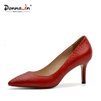 Donna In 2017 Spring Autumn New Collections Thin And High Heel Pumps Python Skin Leather Ladies