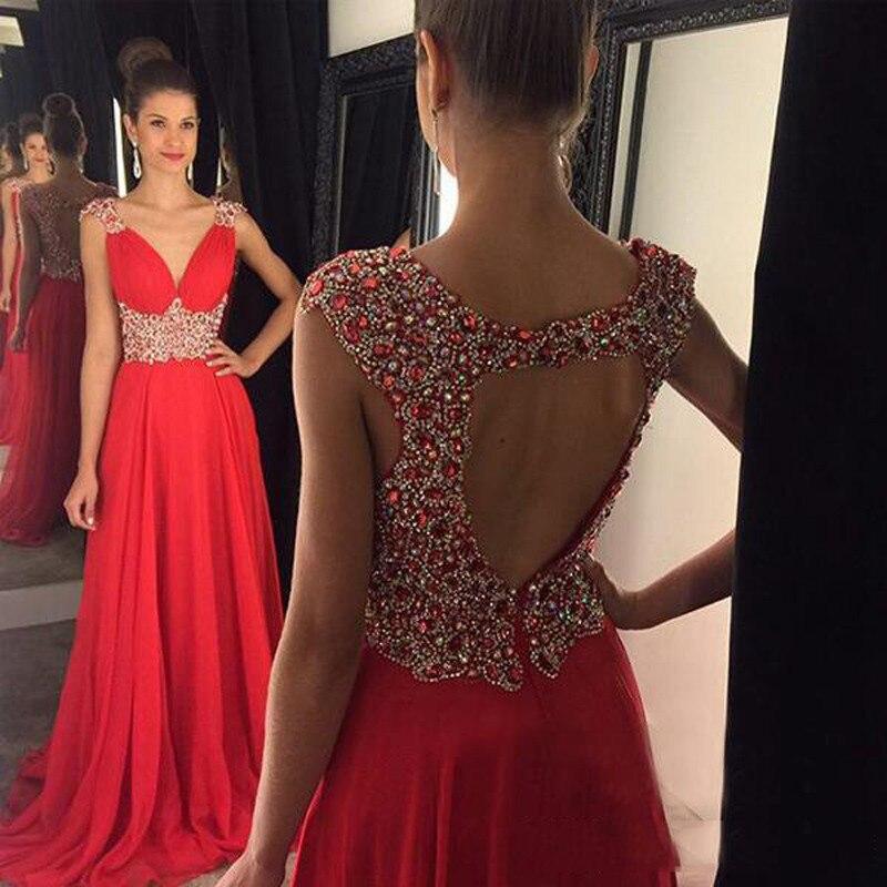 Rojo Vestidos Noche De 2017 Rhinestone Largos Color
