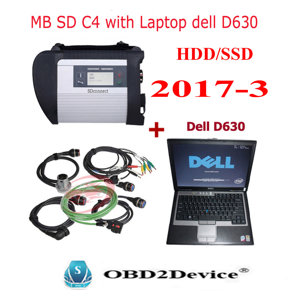 2017 WIFI MB sd connect C4 with hdd V2017.05 software with vediamo Auto diagnostic tool MB Star C4 with d630 laptop 4gb full kit