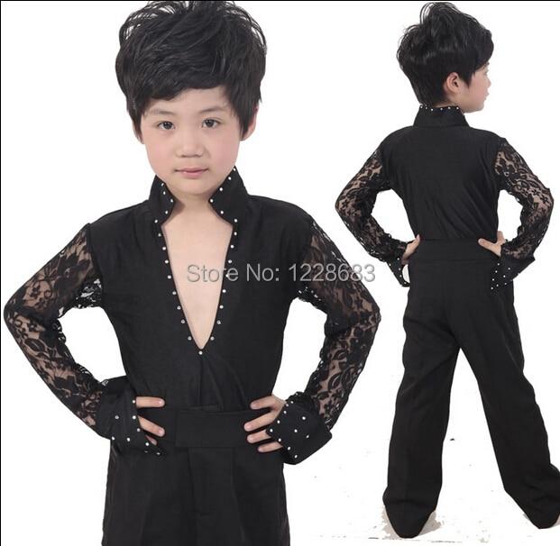 New Black White Lace Sleeve Rhinestones Boys Dance Shirt Ballroom Latin Dance Wear / Men Boys Latin Dancing Shirts