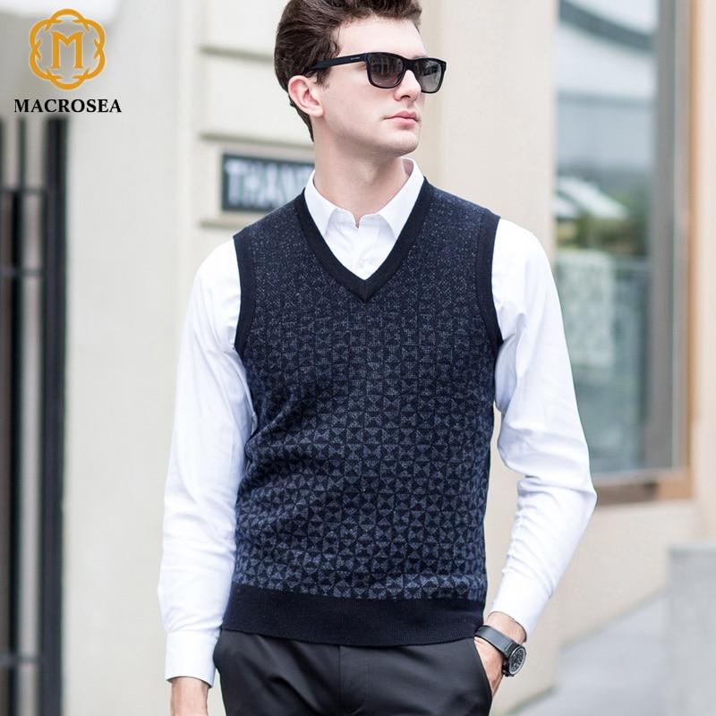 Begeistert Macrosea Herbst & Winter Weste Herren Business Wolle V-ausschnitt Pullover Weste Männlich 100% Wolle Ärmellose Pullover Pullover Weste 8170