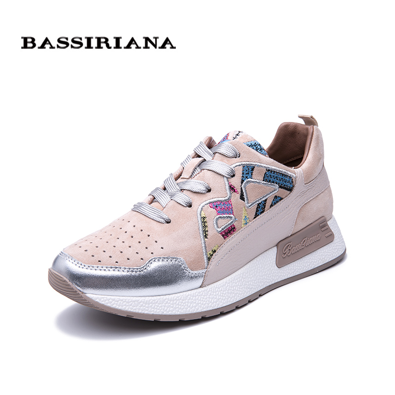 BASSIRIANA 2019 New Leather Flat Shoes Women s Shoes Russian Size Casual Shoes for Women five