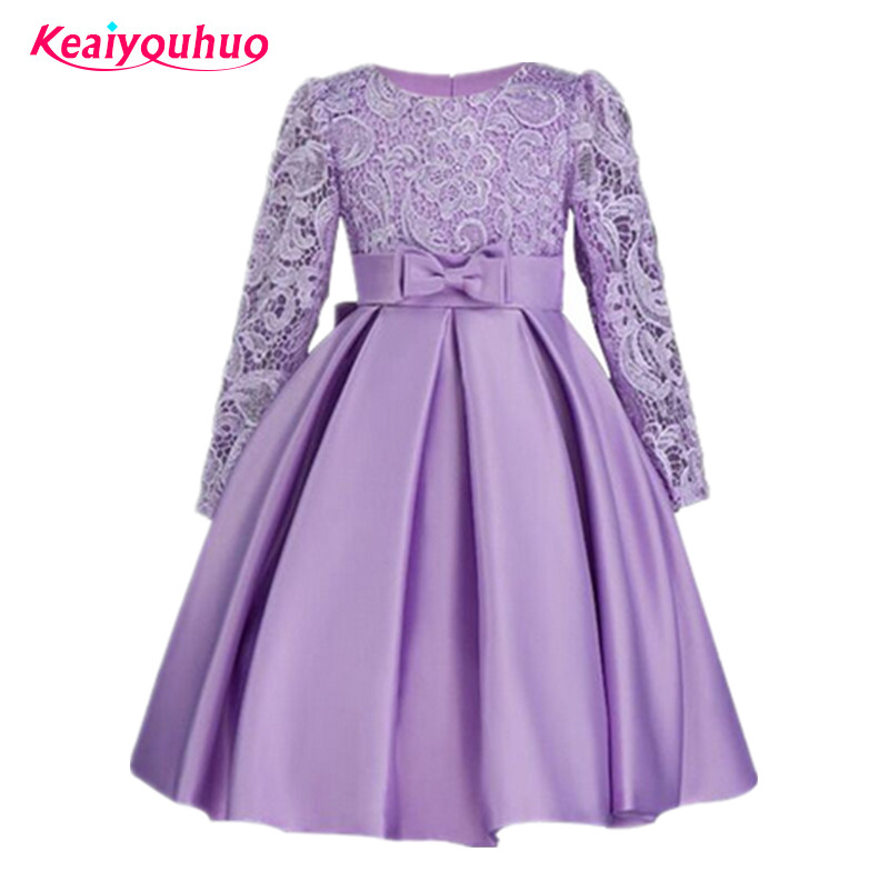 2017 Princess Kids Girls Party Dress New Long sleeve Elegant Lace Formal Wedding Birthday Evening Dresses Children Clothes