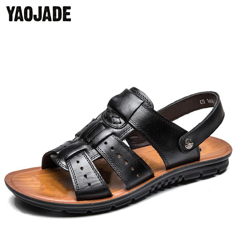 2018 Summer Leather Men Sandals Black Simple Fashion And Quality Men Shoes Comfortable Beach Shoes Men Sandals Tidal Shoe