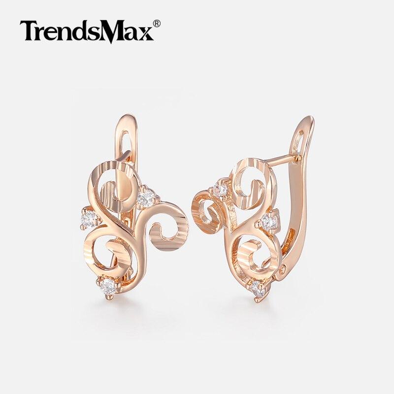 Women's Earrings Flower Cubic Zircon 585 Rose Gold Filled Earrings Woman Hot Party Wedding Jewelry Gifts for Women KGE168