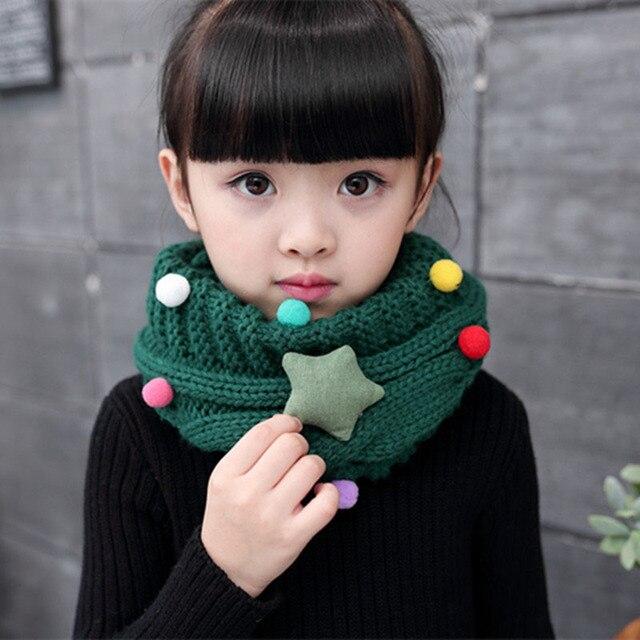 Детские зимние шарфы, вязаные шарфы в виде звезд, ПУМ, ПУМ, круглый воротник, теплый вязаный толстый шарф, защита лица для детей, для мальчиков и девочек, Рождество