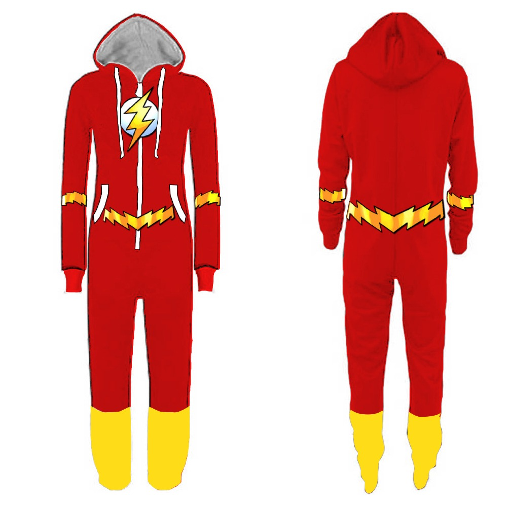 Anime The Flash Barry Allen Cosplay Costumes Kids Adults Flannel Jumpsuits Deadpool Thicken Hoodies Sweatshirts Sportswear Suit