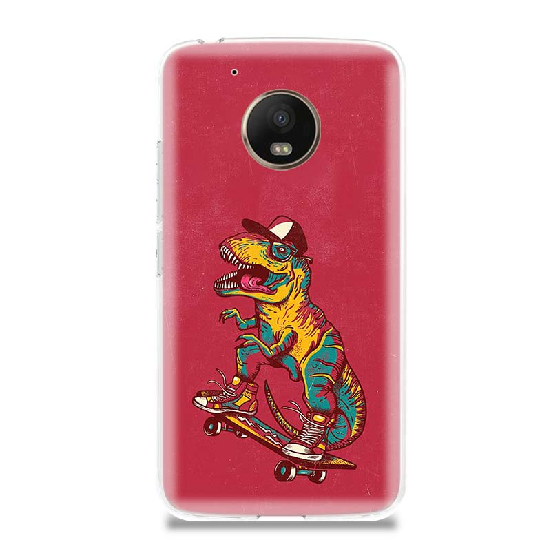 Dinosaur Cute Cool Phone Case For Motorola Moto G7 G6 G5S G5 E4 Plus G4 E5 Play Gift Fit Patterned Customized Coque Cover Shell in Half wrapped Cases from Cellphones Telecommunications