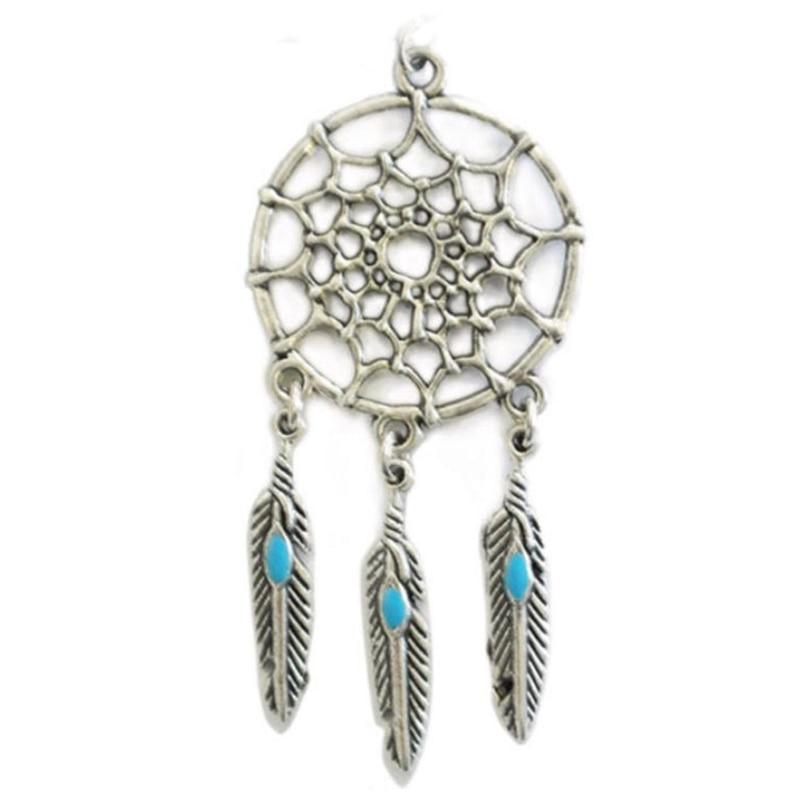 Bohemian Women Chain Choker Necklace Retro Silver Color Dream Catcher Feather Tassel Pendants Necklaces Charming Jewelry