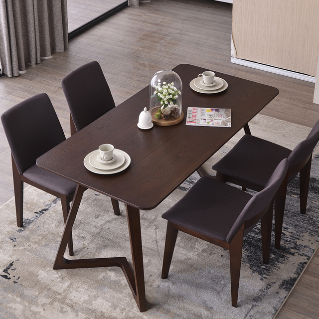 Nordic Wood Tables 6 Person Dinette Combination Of Simple Modern Table And Four Chairs