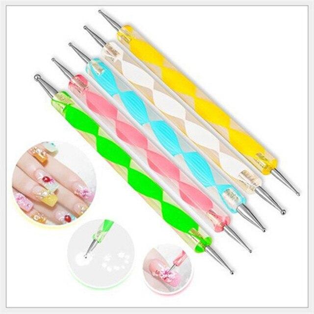 5 unids/lote 2 Marbleizing arte de uñas salpicando pintura Pen manicura herramientas de uñas de arte que salpican herramienta pluma Venta caliente