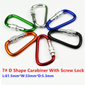 5PC/Lot 7# D Shape Carabiner With Screw Lock D-Ring Clip Buckle Mosqueton For Outdoor Camping Hiking EDC Tool AA12-5P