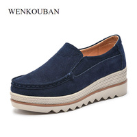 Flat Platform Shoes Women Flats Moccasins Slip On Suede Leather Shoes Rubber Sneakers Summer Creepers Casual Blue Black Shoes