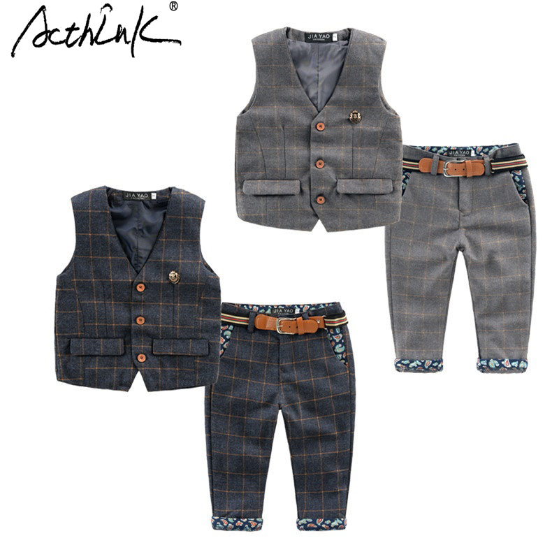 ActhInK 2017 New England-Style Baby Kids Wedding Suit Spring/Autumn Baby Floral Suit with Belts 2Pcs Set Boys Clothing,TC023