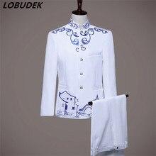 China style(jakcet+pants) suit wedding male dress costume stage blazer trousers slim fashion coat pants for host groom studio