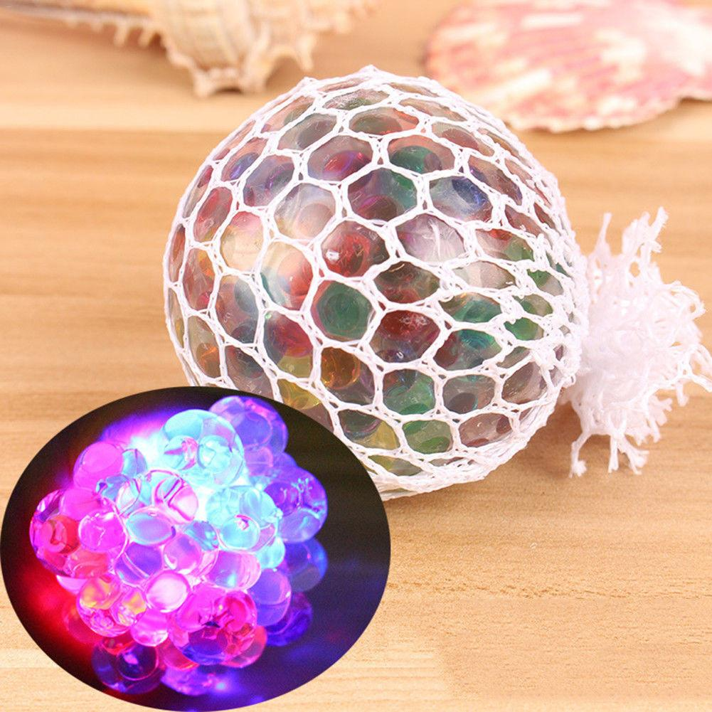 Flash Glowing Mesh Grape Squeeze Ball Release Pressure Stress Ball Autism Squeeze Anti Stress Reliever Toys