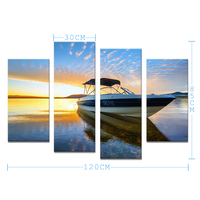 4PCS Frameless Painted Decoration The Yacht And The Sea Wall Art Home Decoration Living Room Print