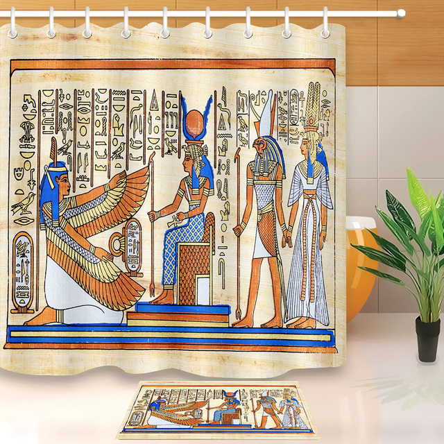 LB Khufu Pharaoh Ancient Egyptian Drawing Stall Shower Curtain Liner And Mat  Set Bathroom Waterproof Fabric