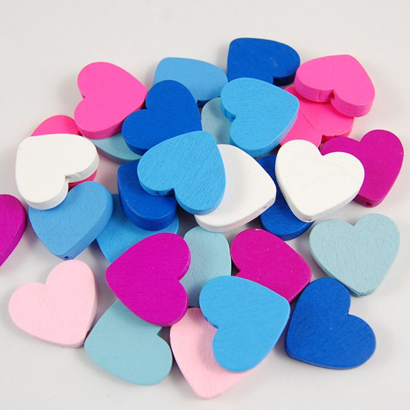 Heart-shaped Mixed Color 100pcs Wood Beads for Jewelry Findings Making Accessories Children Kids Wooden DIY Necklace 23x20mm
