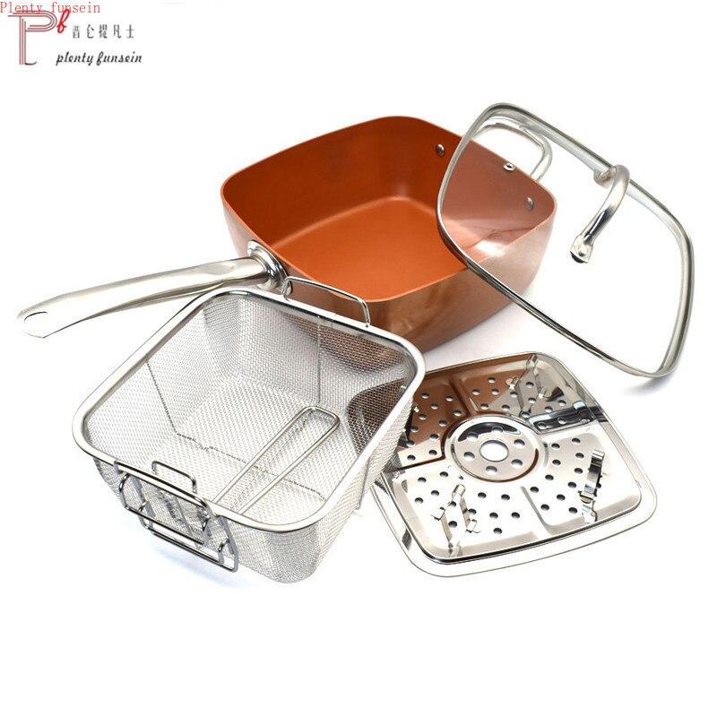 4 pièces antiadhésif cuivre placage carré casserole Induction Chef W/verre couvercle frire panier vapeur Rack 9.5 pouces cuisine batterie de cuisine ensemble