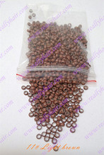 1000pcs pack Light brown silicone micro nano bead with silicone line for Nano Hair Extensions tool