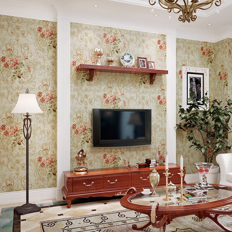 Beibehang American Retro Bronzing Embossed big flower 3D Wallpaper Living Room Bedroom Background wallpaper for walls 3 d tapety