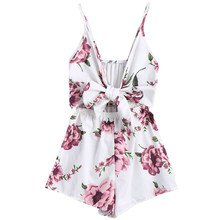 Womail bodysuit Women Summer Fashion Deep V-Neck Print Sleeveless Sling Loose Jumpsuit Playsuit With Lace Up new2019 dropship M4