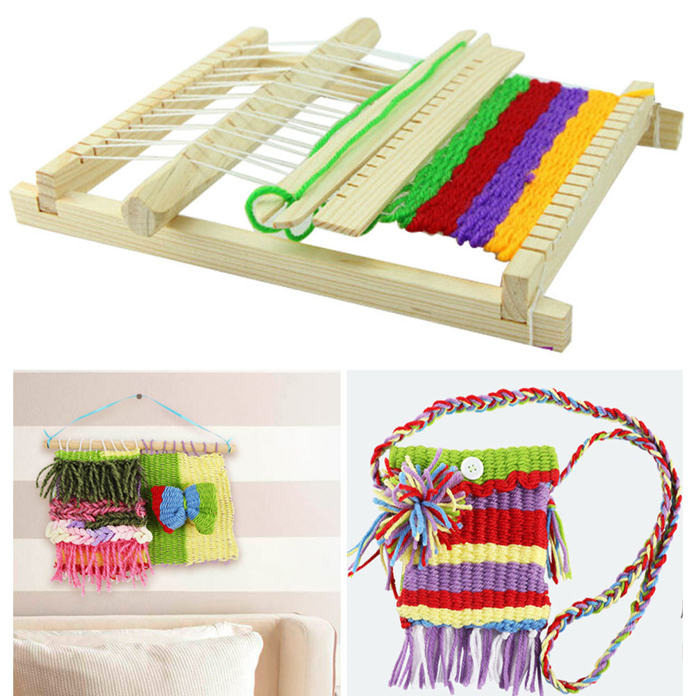 Intelligence Develop Eaducational Hand Eye Wooden Weaving Machine Mini Loom Kids Children Hand Knitting Toy With Accessories DIY