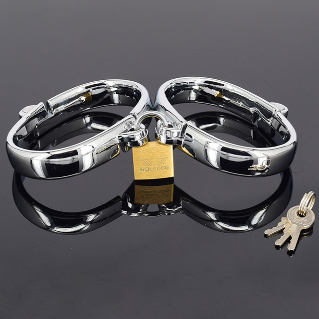 Adult Games Stainless Metal Women Handcuffs Restraint Shackle Slave's Bondage Gear Adult BDSM Fantasy Sex Toys for women