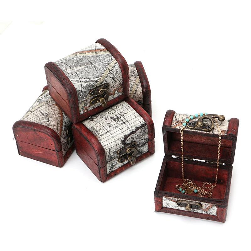 European Vintage Wooden Map Design Storage Box Metal Locking Jewelry Box Jewerly Organizer Jewelry Display Tray Case Showcase