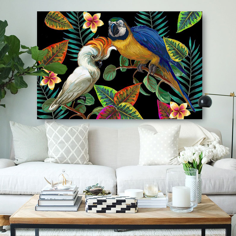 Embelish Hot Vector Painting With Tropical Birds Wall Art Posters For Modern Home Decor HD Canvas Oil Painting For Living Room ...