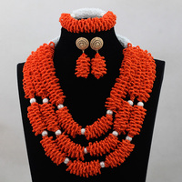 Popular Orange Plastic Beads Sets New Nigerian African Wedding Bridal Beads Necklace Jewelry Set New Design Free Shipping ANJ185