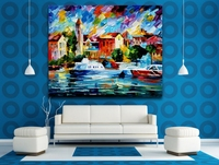 Palette Knife Oil Painting Yachts Moored In Large Harbor Picture Printed On Canvas Wall Art For