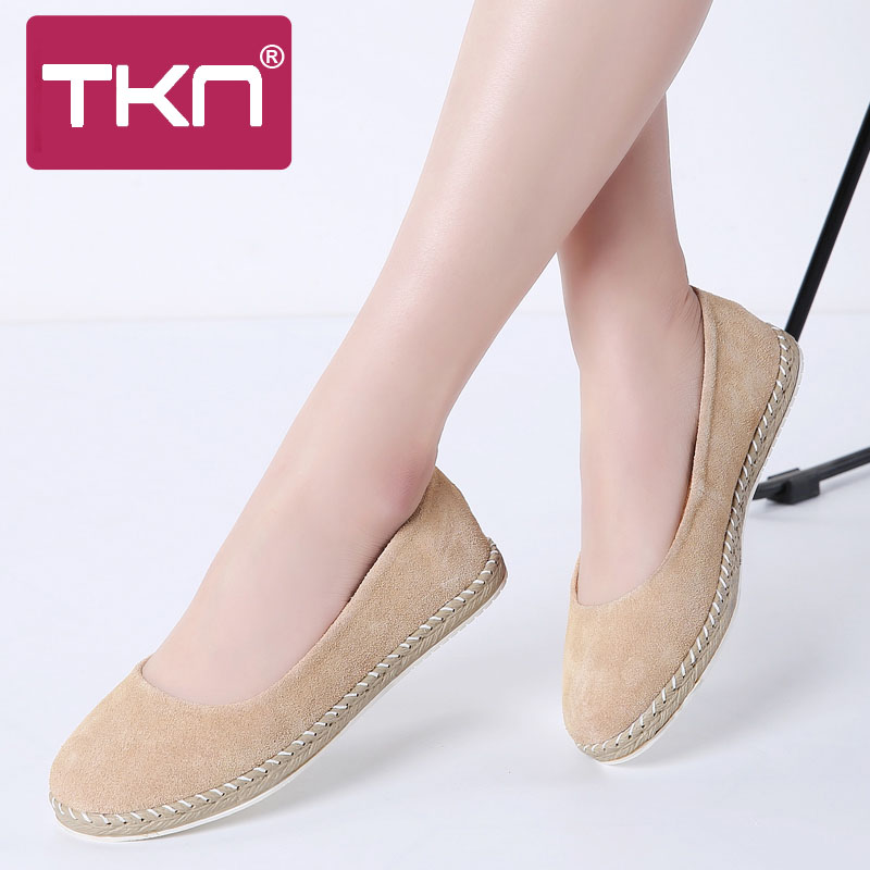 TKN 2019 Spring Women Flats Shoes Breathable   Leather     Suede   Slip on Ballet Flats Laides Casual Loafers Shoes for Woman 7022