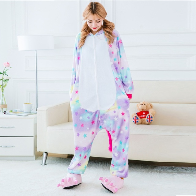 Pink Winter Animal Pegasus Unicorn Pajamas For Women Ladies Anime Sleepwear Cartoon Adult Unicornio Flannel Hoodie Long Sleeve