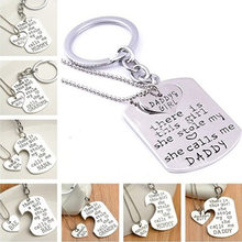New Sale Love Heart Family Pendant Key Chain Set Silver Plated Puzzle Necklace Jewelry Present For Lovers Collares(China)