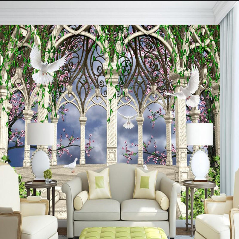 Custom 3D Photo Wall Murals Wallpaper Living Room Bedroom Wall Mural European 3D Room Wallpaper Landscape Rome Garden Rose Mural custom photo wallpaper 3d wall murals balloon shell seagull wallpapers landscape murals wall paper for living room 3d wall mural