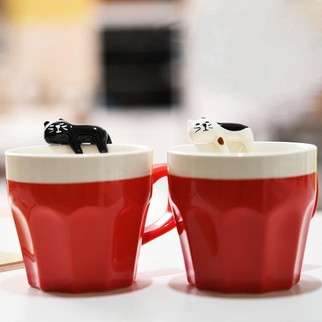 Hot 300ml Black And White Cat Lover Coffee Mug Hand Painted Tea
