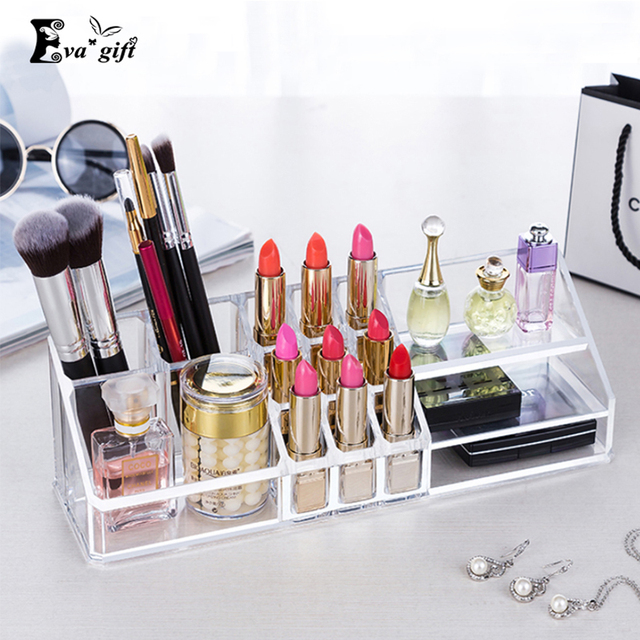 Exquisite Crystal acrylic makeup lipstick organizer cosmetics  transparent make-up box Skin care products holder
